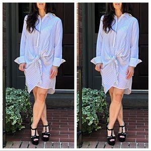 Dresses & Skirts - Tie knot  striped Shirt dress